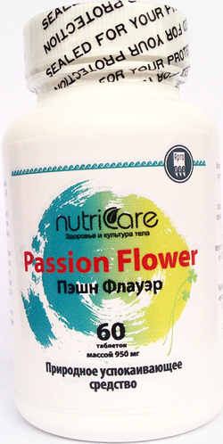 Пэшн Флауэр,таблетки,60 шт.  Растительное седативное средство, регулирует процессы сна и засыпания.  NutriCare Int.