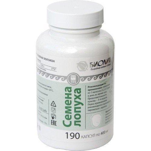 Семена лопуха, капсулы, 190 шт. Улучшение работы желудочно-кишечного тракта, детоксикация.  Биолит